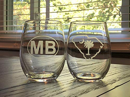 Myrtle Beach Stemless Wine Glasses- Two Myrtle Beach Glasses - Myrtle Beach Gift - South Carolin - Barware -