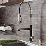 Kraus KPF-1603SBBG Artec Pro 2-Function Commercial Style Pre-Rinse Kitchen Faucet with Pull-Down Spring Spout and Pot Filler, Black Stainless Steel/Brushed Gold