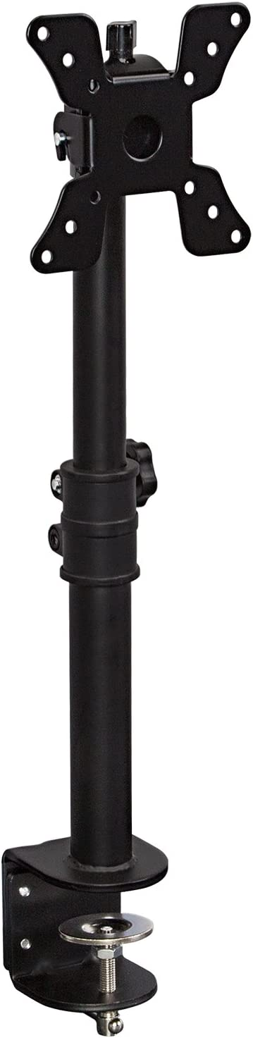Mount-It! Single VESA Monitor Mount | Vertical Monitor Desk Stand | Telescoping Pole Height Adjustable | Fits 19 20 21 22 23 24 27 29 30 Inch Computer PC Screens | C-Clamp Base