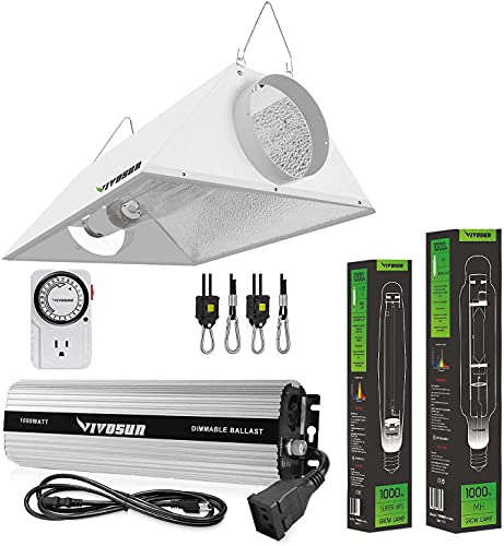 VIVOSUN Hydroponic 1000 Watt HPS MH Grow Light Air Cooled Reflector Kit - Easy to Set up, High Stability & Compatibility ( Enhanced Version )