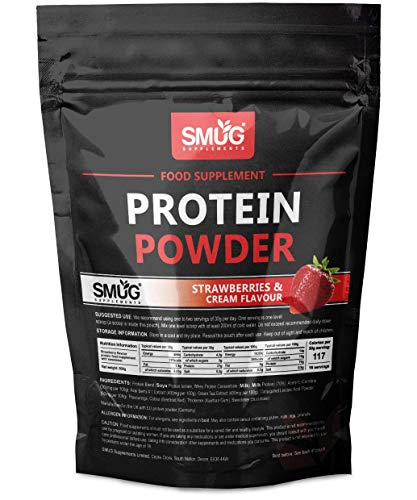 Low Calorie Protein Powder by SMUG Supplements | Choose from Banana, Chocolate, Strawberry and Vanilla | Diet Protein Shake Only 117 Calories | Low Carb & Keto 4.2 Carbs (Strawberries & Cream (500g))