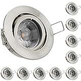 10er LED Einbaustrahler Set Silber gebürstet mit COB LED GU10 Markenstrahler von LEDANDO - 5W DIMMBAR - schwenkbar - warmweiss - 40° Abstrahlwinkel ähnlich Halogen - A+ - 50W Ersatz - LED Einbauleuchte 5 Watt