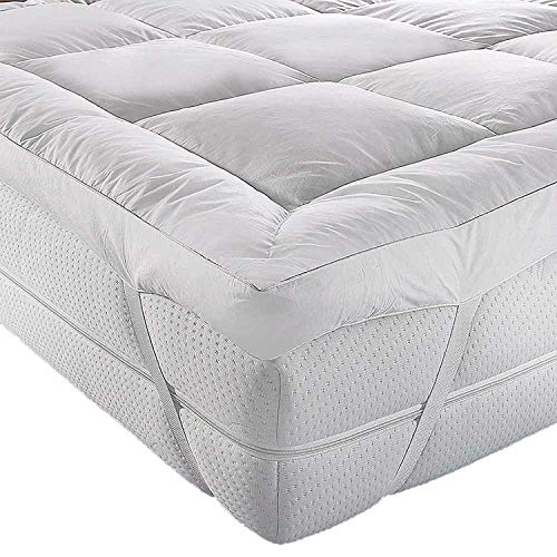 AR Textile Duck Feather & Down Extra Deep Mattress Topper, Cover, Mattress Pad 5 Cm Thick in (Double)