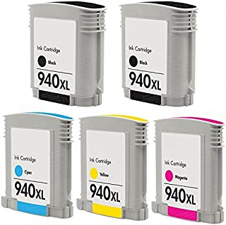 CompAndSave Replacement for Hewlett Packard HP 940XL (Combo-Pack of 5) High Yield Ink Cartridges: 2 Black, 1 Cyan, 1 Magenta, 1 Yellow