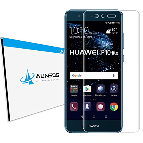 『3D全面』AUNEOS Huawei P10 Lite フィルム 日本製旭硝子材 P10 Lite ガラスフィルム 全面保護 0.2mm超薄い 3D熱彎技術 耐衝撃 9H ファーウェイ P10 ライト 強化ガラス (Huawei P10 Lite, 透明)