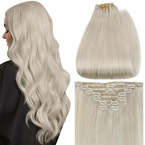 Full Shine Clip in Hair Extensions 24 Inch Blonde Real Hair Clip on Hair Extensions 7 Pcs Per Set Color 1000 Light Blonde Remy Human Hair Clip in Full Head Extensions