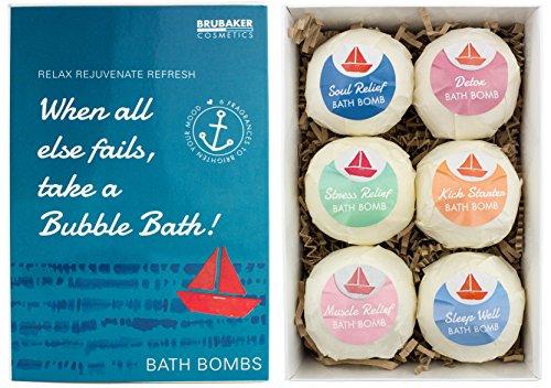 BRUBAKER Cosmetics - Bombes de bain/Boules effervescentes - 6 Pièces - Coffret cadeau 'When all else fails, take a Bubble Bath' - Fait main - Végan - Ingrédients naturels
