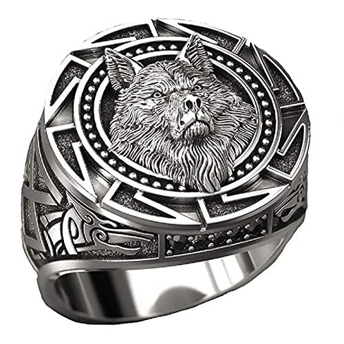 OKMJ Anillo de Lobo de los Hombres, Anillo de la Cabeza de Lobo eslavo, Anillo de la Cabeza de Lobo nórdico del Vikingo nórdico, Anillos de tótem de Lobo Retro, Anillos de teñido de Lobo