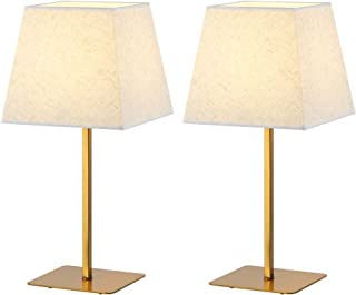 HAITRAL Gold Table Lamps Set of 2 - Stylish Bedside Lamps with Metal Base and Linen Fabric Shade Elegant Nightstand Lamps for Bedroom, Living Room, Office, College Dorm, Girls Room