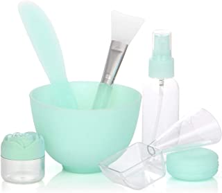 Fancytimes 7 in 1 Face Mask Mixing Bowl Set DIY Facial Mask Accessory Set, Measuring Spoon Soaking & Spray bottle Lady Facial Care & Women Face Care Mask Set Green