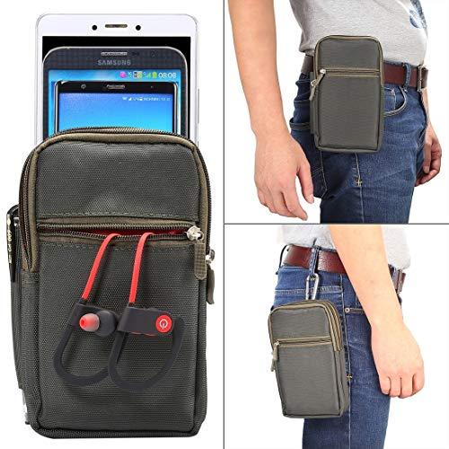 Wckxy Caja del teléfono de 7 pulgadas y debajo de la caja universal de poliéster Hombres Estilo Vertical Bolsa de cintura con la correa del agujero y Escalada de la hebilla, for el iPhone, Samsung, So