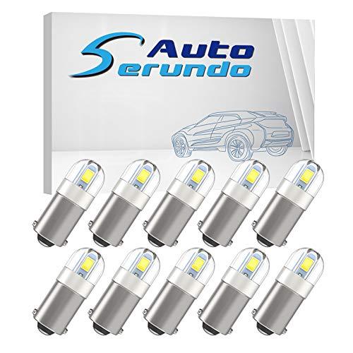 Serundo Auto BA9S Led Car Bulb BA9 1895 1891 53 57 Led Car Bulb, 2SMD 3030Chips 6000K White 47830 64111 3893 LED Car Bulb for Car Interior Dome Map License Plate Glove Box Light etc, Pack of 10pcs