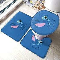 Lilo & Stitch!吸収性のあるラグバスマット 浴室地カーペット バスマットラグバスルーム洗えるu字型台座ラグふたトイレシートカバー滑り止め3個余分な柔らかくて 便座カバー マット 吸水 速乾 防寒 ノンスリップ