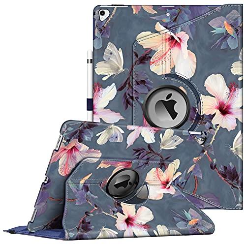 Fintie Hülle für iPad Pro 12.9 (2. Generation 2017/1. Generation 2015), 360 Grad verstellbare Schutzhülle Stand Cover Tasche mit Auto Schlaf/Wach Funktion, Blühender Hibiskus