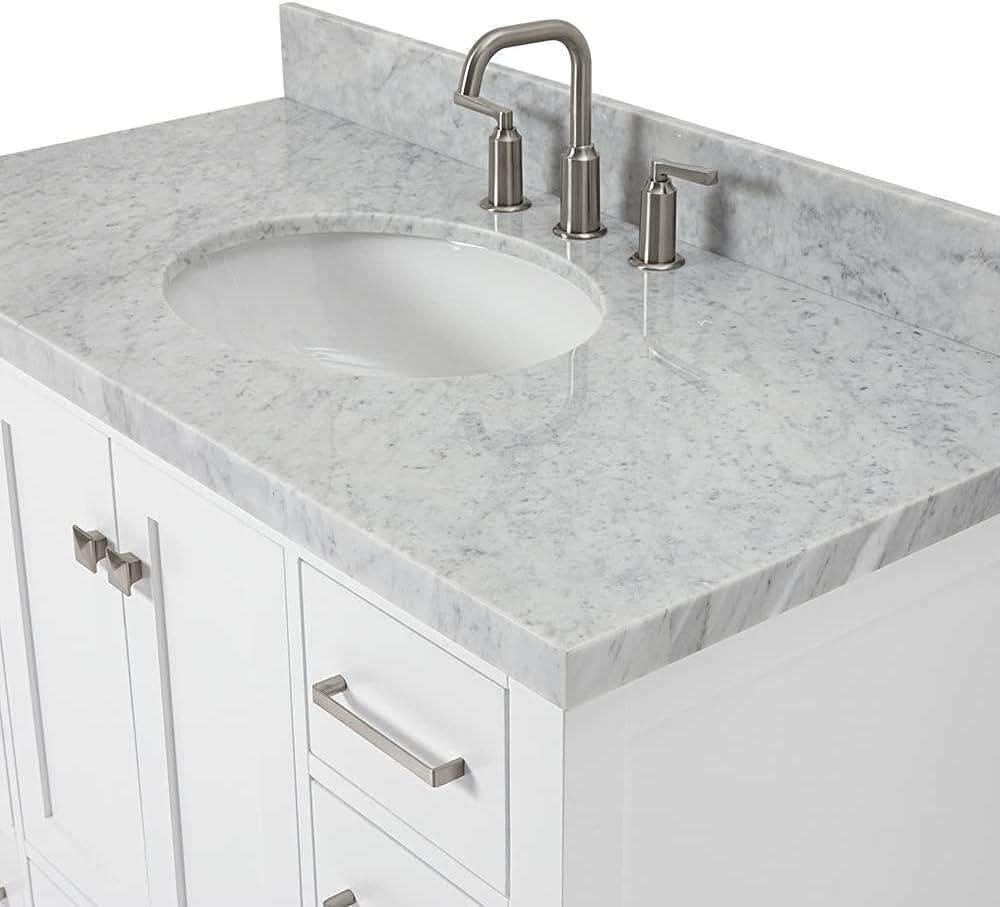 Buy Ariel 43 Inch White Bathroom Vanity W 1 5 Edge Carrara Marble Countertop W Backsplash Oval Sink 2 Soft Closing Doors 9 Full Extension Dovetail Drawers Premium 24 X