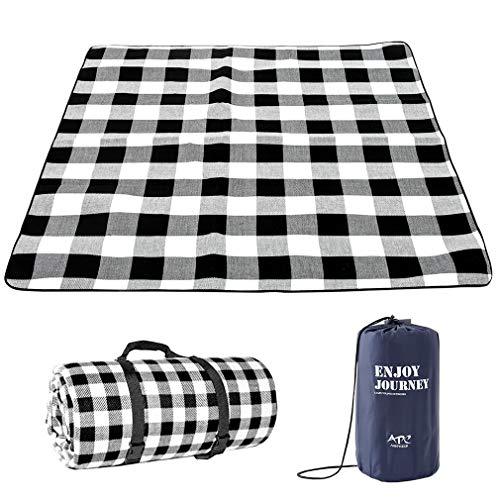 Lifetooler Picknickdecke wasserdichte,tragbar mit Trageriemen,Campingdecke wärmeisoliert Familien Matte für Picknicks,für Outdoor Party,nasses Gras,Wandern.(200 * 200 (6-8 Personen), Schwarz Grau)