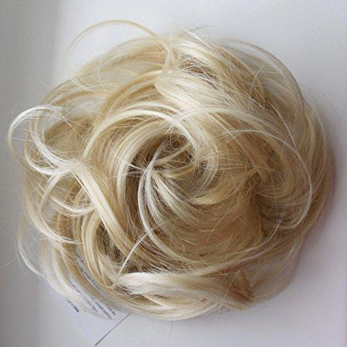 PRETTYSHOP Haarteil Haargummi Hochsteckfrisuren unordentlicher Dutt leicht gewell. Farbe: hellblond mix G17B