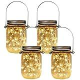 HopeU5 Luces de tarro de masón Paquete de 4 Tarros de albañil solares Decoración Tapa de...