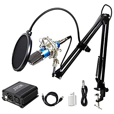 TONOR Condenser Microphone XLR to 3.5mm with USB Cable Recording Microphone Kit PC Mics with 48V Phantom Power Supply, Boom Scissor Arm Stand with Shock Mount Blue