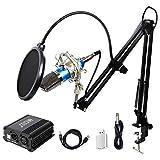 TONOR XLR 3.5mm Micrófono Condensador Profesional para Computadora Podcast Estudio con Soporte de Micrófono Ajustable Filtro Anti-Pop 48V Phantom Fuente de Alimentación Azul