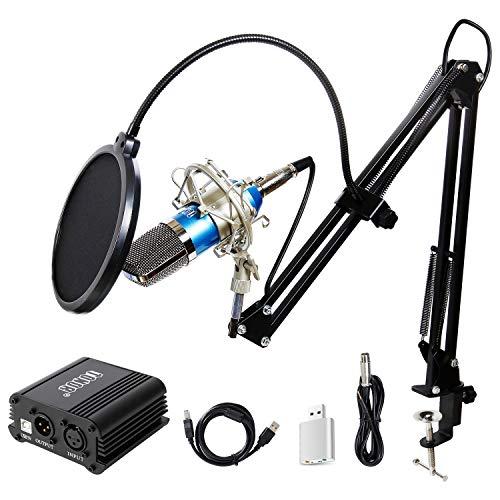 TONOR BM-700 Microfono a Condensatore Kit di Microfono con Alimentatore 48V Phantom, NW-35 Stand Asta di Sospensione Braccio a Forbici con Supporto Anti-vibrazione, Cavo XLR a 3.5mm Blu