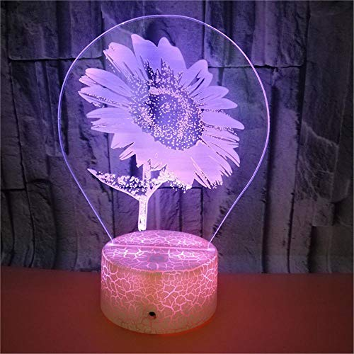 LBJZD 3D Night Light Beautiful 3D Sunflower Night Light 7 Colors Flashing Acrylic Floral Night Light USB Crack Base Home Decration Led Lamp White Base with Remote Control
