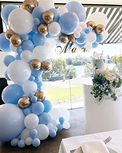 DUBEDAT 126Pcs Balloon Garland Kit Blue White Gold Chrome Balloon Arch Wedding Bridal Shower Birthday Party Baby Shower Decoration