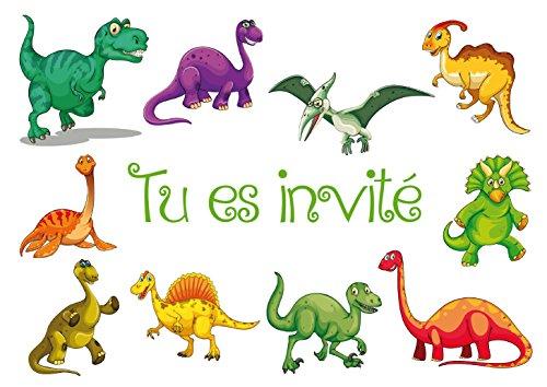 Edition Colibri Lot de 10 Cartes d'Invitation Dinosaures en Français pour Un Anniversaire d'Enfant ou pour Une fête sur Le thème de la Préhistoire des (10977 FR)