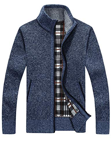 Yeokou Men's Casual Slim Full Zip Thick Knitted Cardigan Sweaters with Pockets (Medium, Blue001)