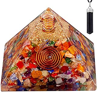 Bliss Creation Orgone Pyramid Healing Stone Energy Generator EMF Protection | Made for Ultimate Orgone Energy with Raw Black Tourmaline Crystal Healing Pendant Necklace (Multi Stone)