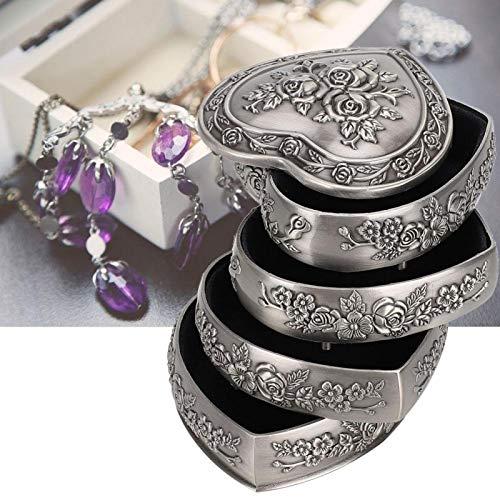 Caja de almacenamiento de joyería retro, Caja de joyería para pendientes Pulseras Almacenamiento de anillos y exhibición Caja de hogar de estilo europeo retro decorativo en forma de corazón(4 capas)