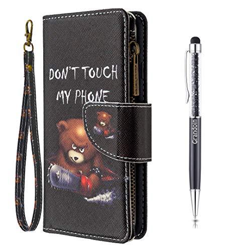 Grandoin für Samsung Galaxy S20 Hülle, Handyhülle im Brieftasche-Stil, Handytasche PU Leder Reißverschluss Klappbarer Flip Cover Bunte Muster Case Schutzhülle (Bär)