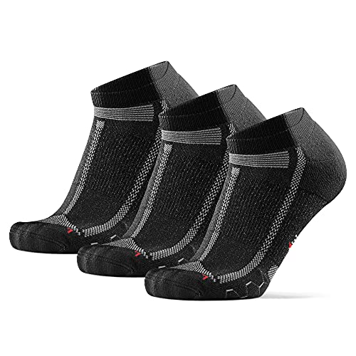 DANISH ENDURANCE Long Distance Low-Cut Running Socks for Men & Women (Nero/Gris, 43-47)
