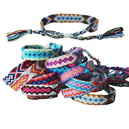 Tangser Nepal Woven Friendship Bracelets with a Sliding Knot Closure for Women, Kids, Girls, VSCO Girl and Men – Adjustable - Mix Color Random(Pack of 12)