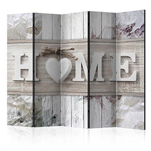 murando Raumteiler Home Holz-Optik Foto Paravent 225x172 cm einseitig auf Vlies-Leinwand Bedruckt Trennwand Spanische Wand Sichtschutz Raumtrenner Home Office weiß beige m-C-0250-z-c
