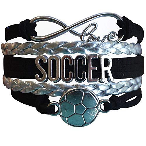Infinity Collection Soccer Gifts, Soccer Charm Bracelet, Soccer Jewelry, Adjustable Soccer Charm Bracelet for Soccer Players, Soccer Gift