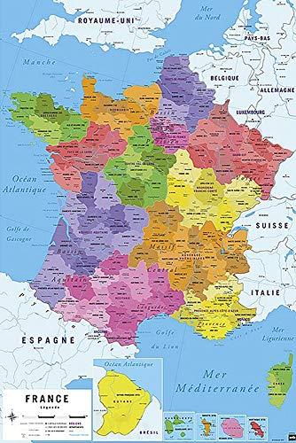 Póster Mapa de Francia 2017 - Carte de France [en francés] (61cm x 91,5cm)