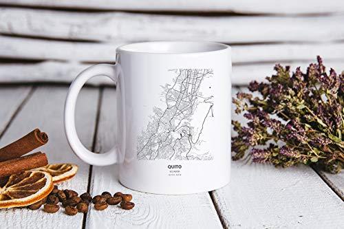 DKISEE Quito Ecuador Map Gifts, Quito Ecuador Mapa Taza de té de café, Quito Ecuador Mapa Taza de té de café, Quito Ecuador Mapa Regalos de cumpleaños para hombres y mujeres