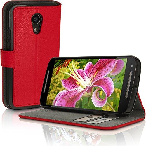 iGadgitz u3464Folio rot Kompatibel mit Handy-Hüllen Kompatibel mit Mobiltelefone (Folio, Motorola Moto G2, Rot)