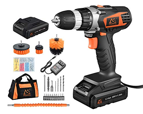 MAIBERG Cordless Drill Driver Set, 20V Battery Electric Power Drill with Extra Batteries and 23pcs Accessories
