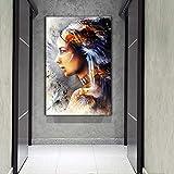KWzEQ Imprimir en Lienzo Decoración de hogar de Pared de Mujeres indígenas de Plumas para póster de Sala de estar70x105cmPintura sin Marco