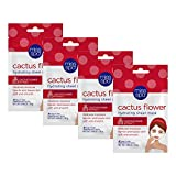 Miss Spa Cactus Flower Hydrating Full Facial Sheet Mask Set, Moisturizing Aloe Leaf, Anti-Aging, Skin Care for Women, 4-Pack