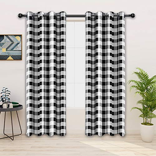 FLOWEROOM Buffalo Plaid/Check Curtains, Black-White, 52 x 84 Inch Long – Sun Light Blocking, Thermal Blackout Curtains for Bedroom and Living Room, Grommet Window Curtain Panel, Set of 2