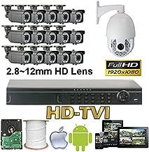 GW Security 16 Channel HD-TVI Camera HD 1080P CCTV DVR Kit : 15 x 1080P 2.8-12mm Varifocal Manual Zoom Bullet Cameras 180FT IR Night Vision + 1 x 1080P HD-TVI PTZ Camera 20 times Zoom + 1 x 4TB HDD