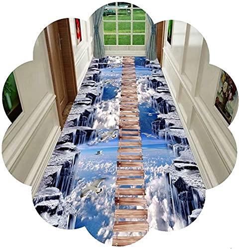 CAOMING 3D Corredor Alfombra de la Alfombra Alfombra Corredor Antideslizante, área de Entrada Extra Larga alfombras a la Cocina Puerta Entrada Dormitorio (Color : Corridor Carpet, Size : 90x450cm)