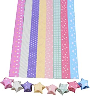 [Colored Dots] DIY Origami Paper Stars Origami Stars Strip, 8 Colors 300 Sheets