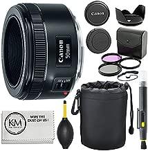 Canon EF 50mm f/1.8 STM Lens + 3pc Filter Kit + Lens Pen + Blower + Hood + Lens Pouch + Cap Keeper