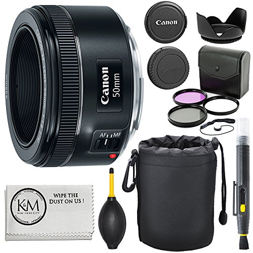 Canon EF 50mm f/1.8 STM Lens + 3pc Filter Kit + Lens Pen + Blower + Hood + Lens Pouch + Cap...