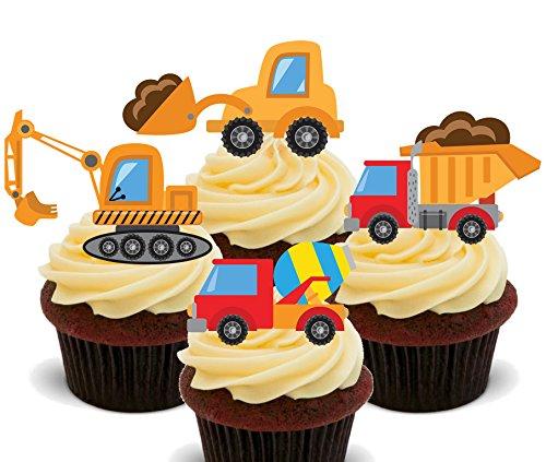 Schaufler und Lastwagen, Kinder-Baufahrzeug-Sammlung, essbare Kuchen/Torten-Dekorationen - Cupcake-Oblaten zum Aufstellen und Verzieren, 24er-Pack