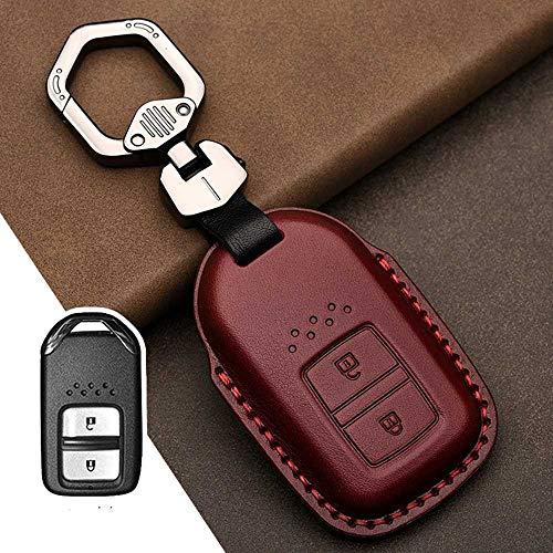 NASHDZ Cubierta de la Caja de la Llave del Coche del Control Remoto Inteligente del Coche de Cuero, Apta para Honda Vezel City Civic Jazz BRV BR-V HRV
